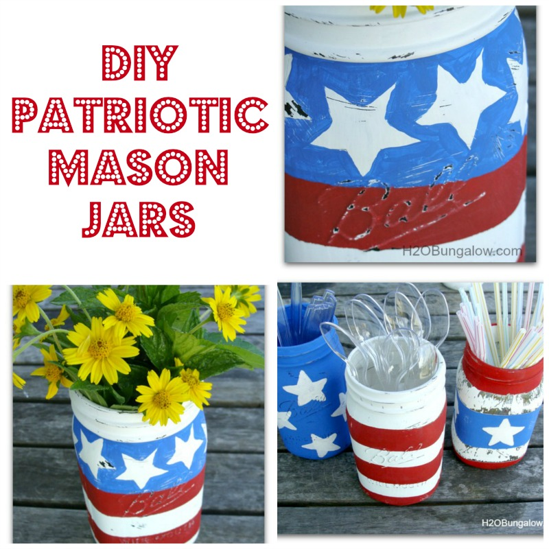 Easy red, white and blue DIY Patriotic Mason Jars hold flowers, silverware or a string of lights at night. Simple DIY! H2OBungalow #patriotic #masonjarcrafts