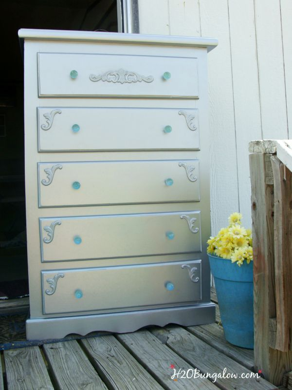 Glam dresser makeover with wood apliques H2OBungalow