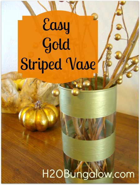 DIY Gold Striped Vase