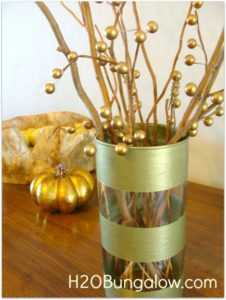 striped gold vase
