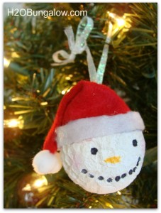 red hatted snowman ornament