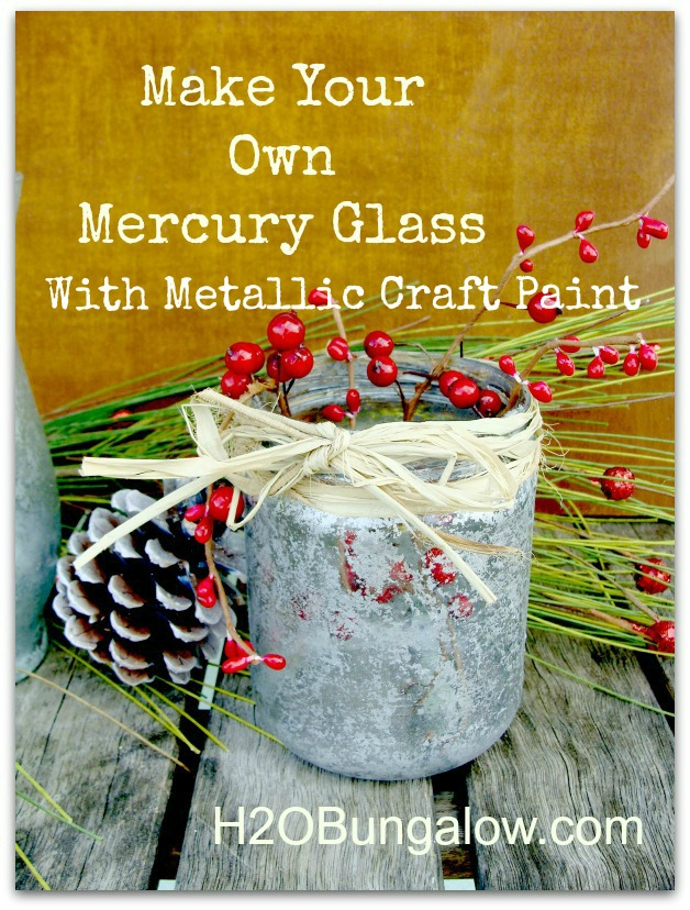 Make your own mercury glass with craft  paint