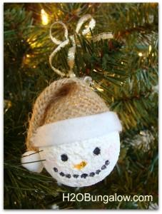snowman ornament with burlap hat