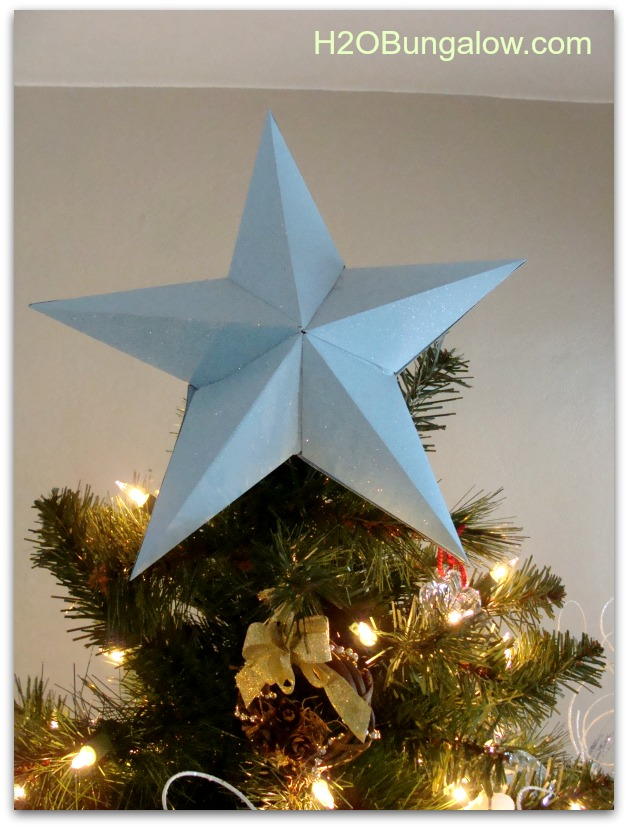 Christmas tree topper is a paper star I made