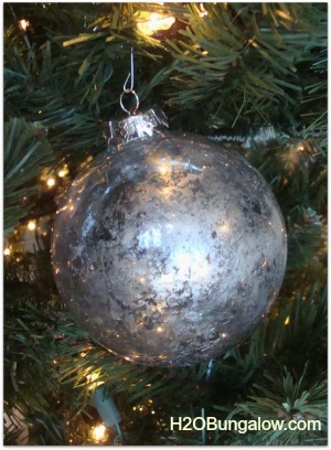close up of mercury glass christmas tree ornament