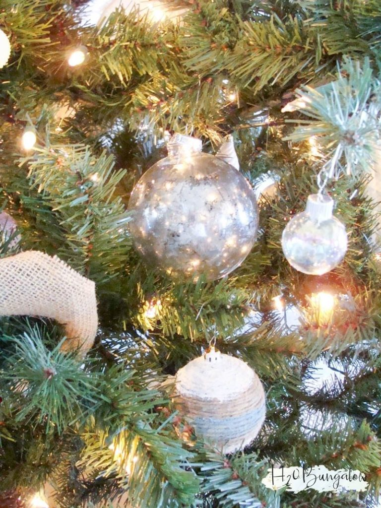 DIY mercury glass Christmas ornament hanging on Christmas tree