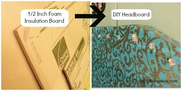 DIY headboard from foam insulation