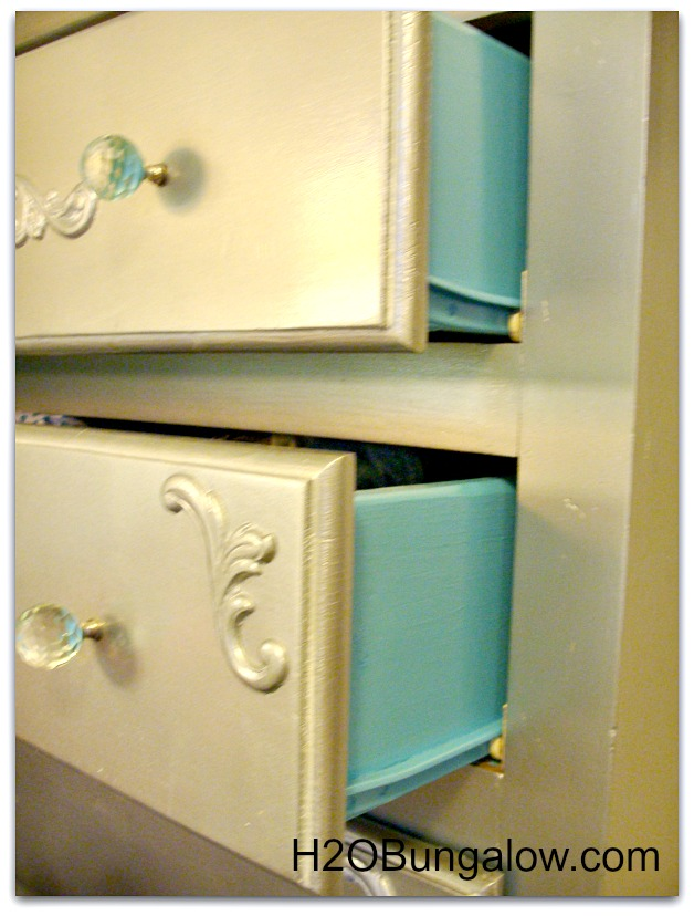 dresser with painted drawer sides