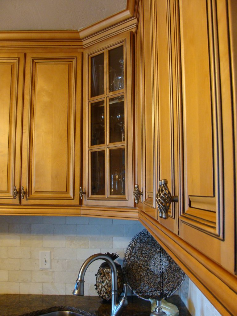 view of counter and upper cabinets in kitchen