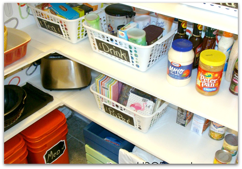 Organize with baskets and use them as dividers in a pantry