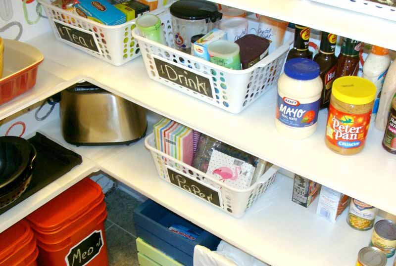 pantry shelves with baskets and food items