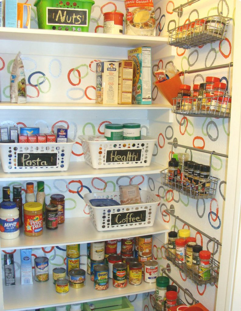 image of pantry shelves organized with bins