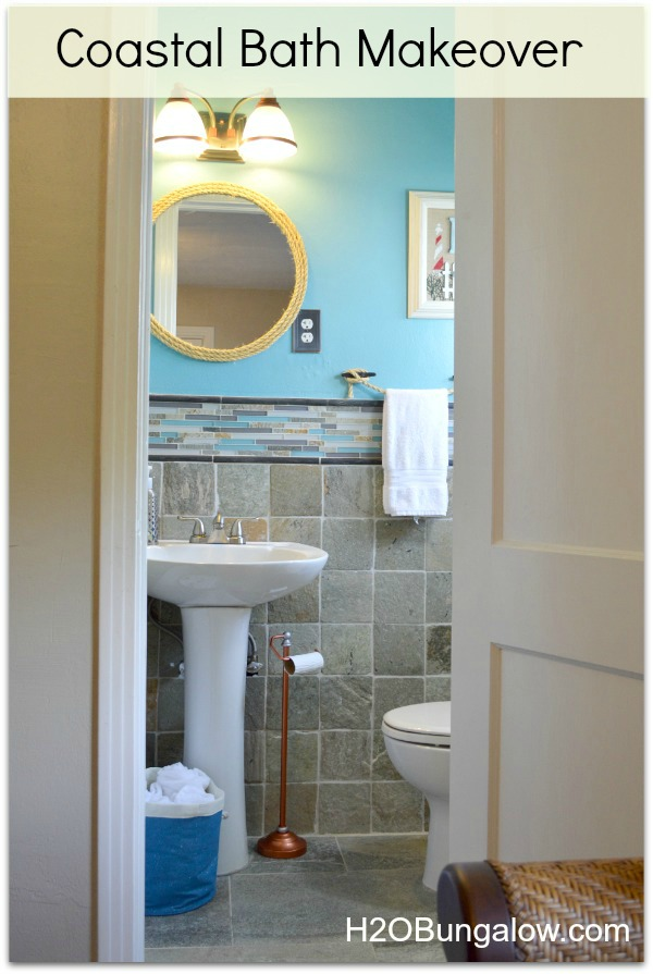 beachy coastal bathroom makeover that is anything but boring from the copper tissue holder to - Coastal Bathroom