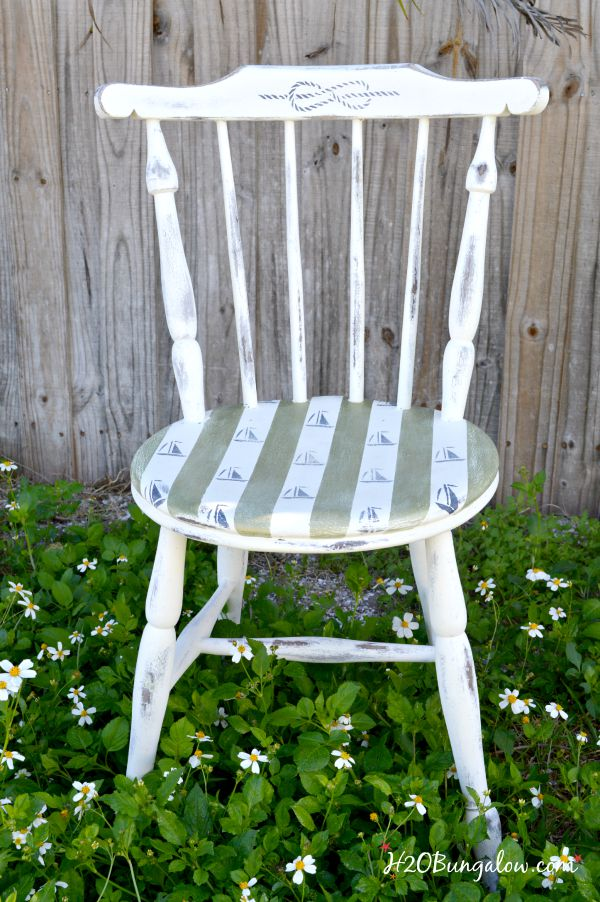 Nautical Chair Makeover with sialboat stencils H2OBungalow