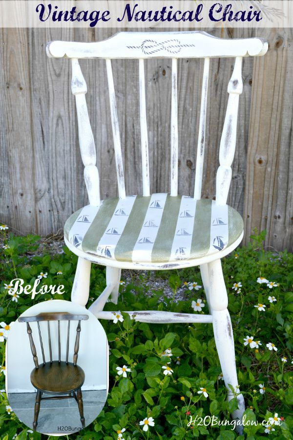 Vintage wood chair makeover to look like an aged saefarin' chair from an old vessel H2OBungalow #Stenciled #Chairmakeover