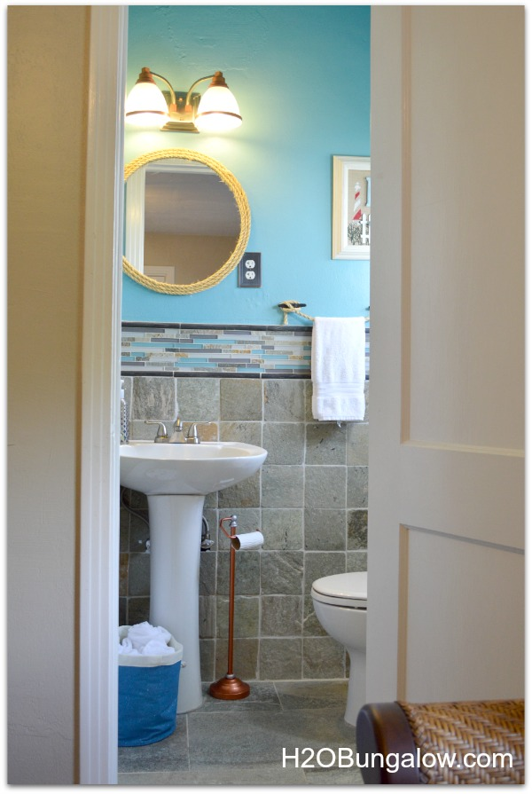 Beachy Coastal Bathroom Makeover That Is Anything But Boring. From The  Copper Tissue Holder To