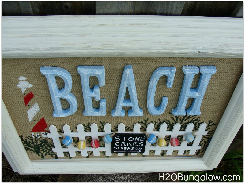 Stone crab sign on DIY burlap canvas beach wall art