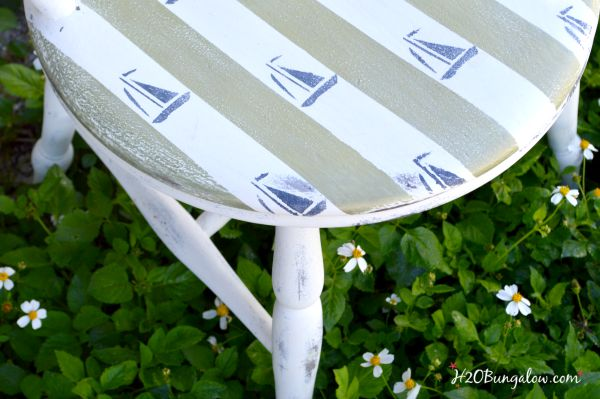 Nautical style chair makeover with stencils and painters tape stripes H2OBungalow