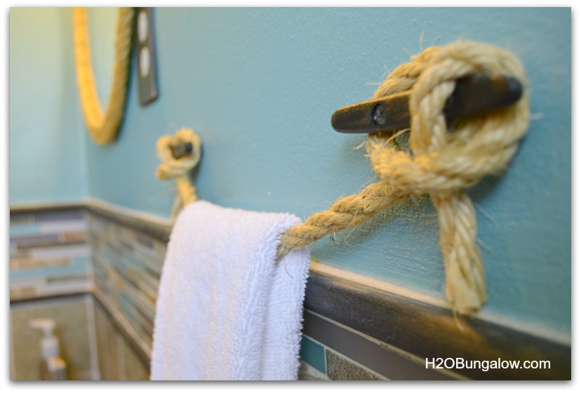 Side of DIY nautical rope towel bar