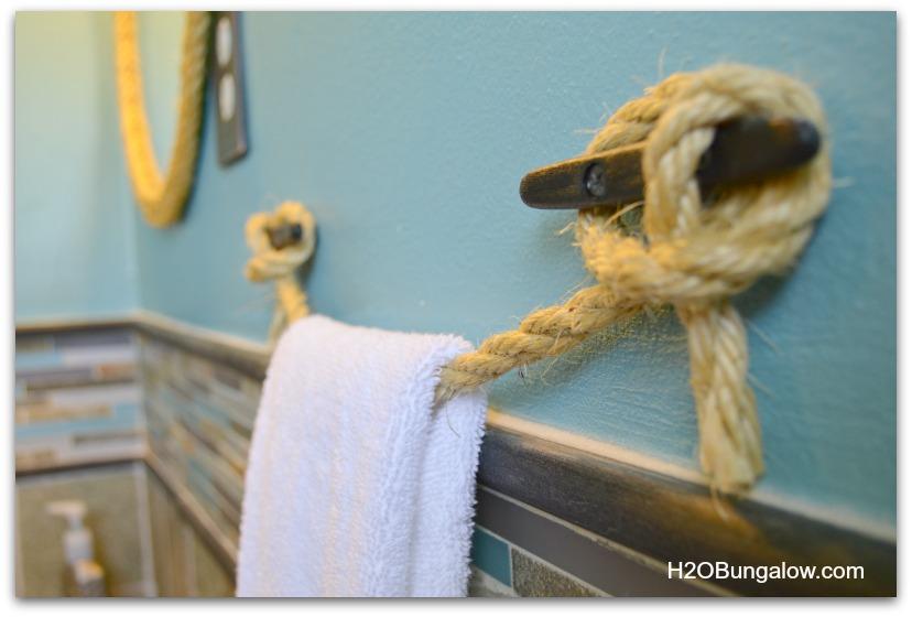 Side Of DIY Nautical Rope Towel Bar