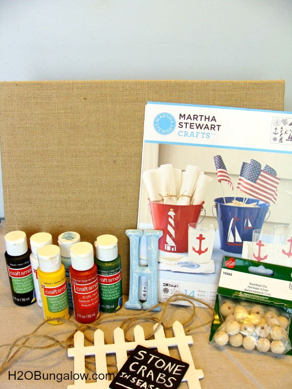 supplies needed to make DIY beach wall art