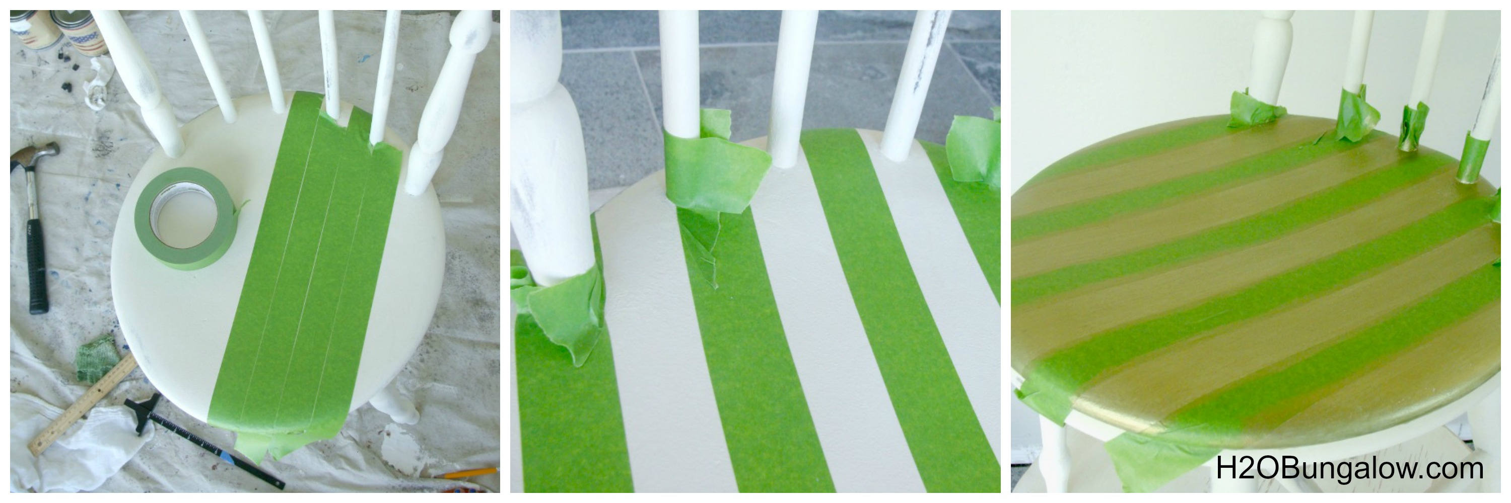 How to paint stripes on a chair