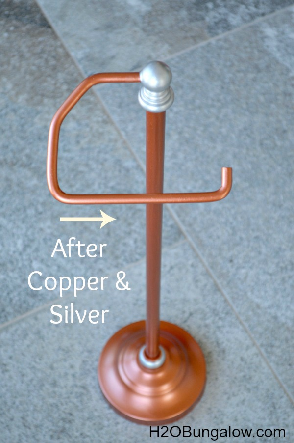 Copper painted toilet paper holder
