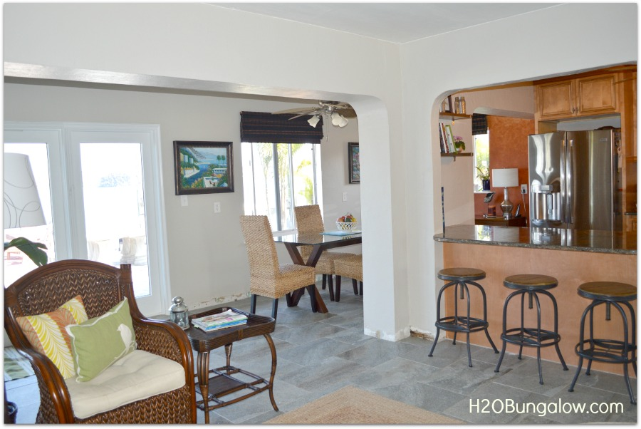 side view of a decorated small home dining and living room
