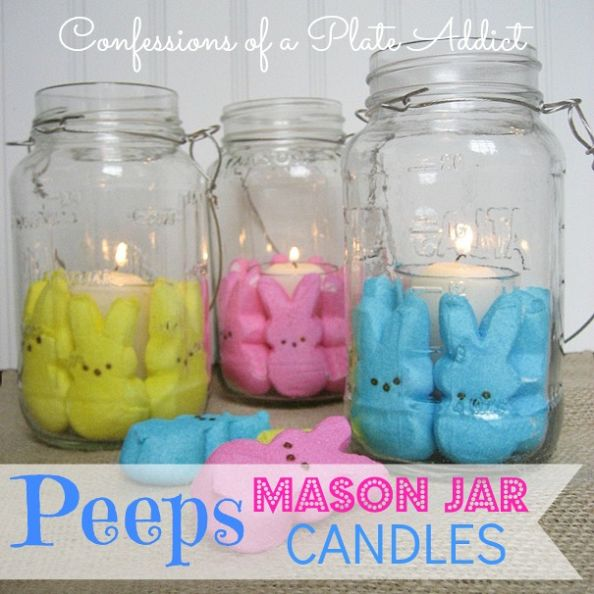 Easy easter hostess gift ideas h20bungalow peeps mason jar candles negle