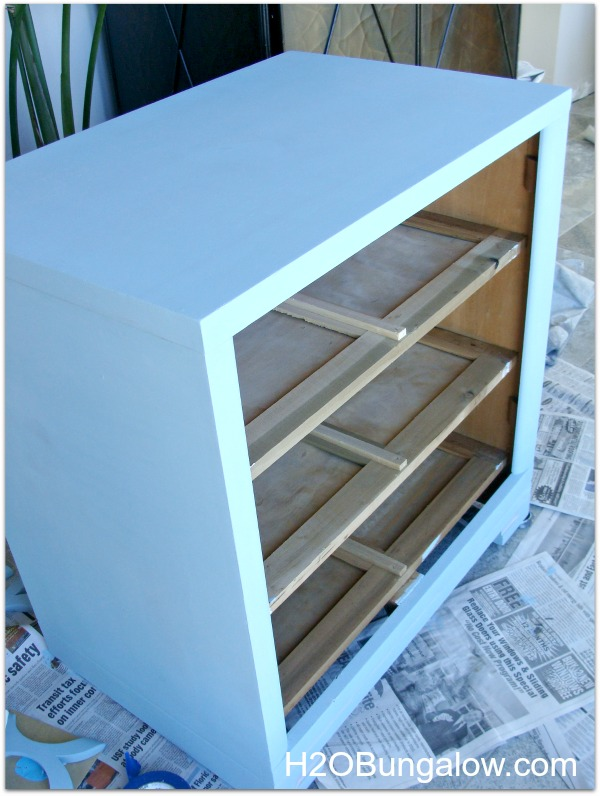 Coastal dresser with blue first coat of paint by H2OBungalow