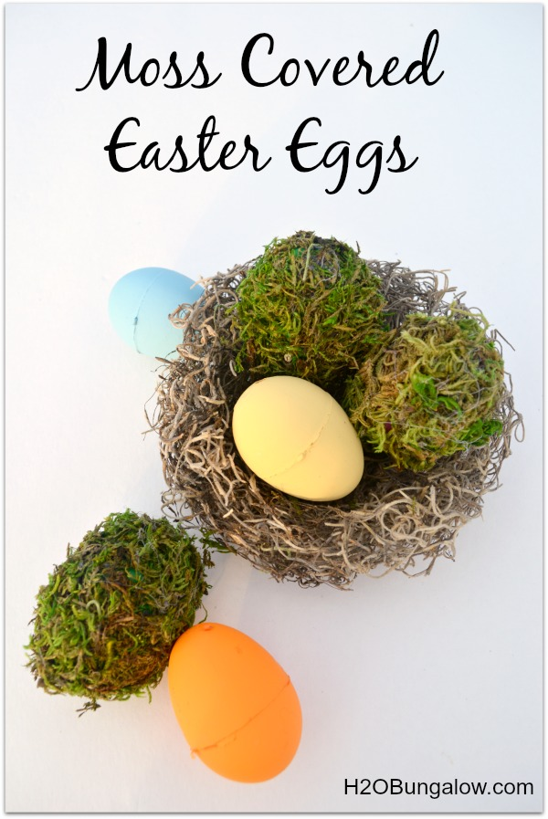 DIY easy moss covered easter eggs by H2OBungalow