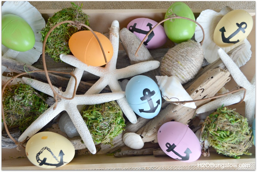 DIY moss covered and nautical anchor easter eggs
