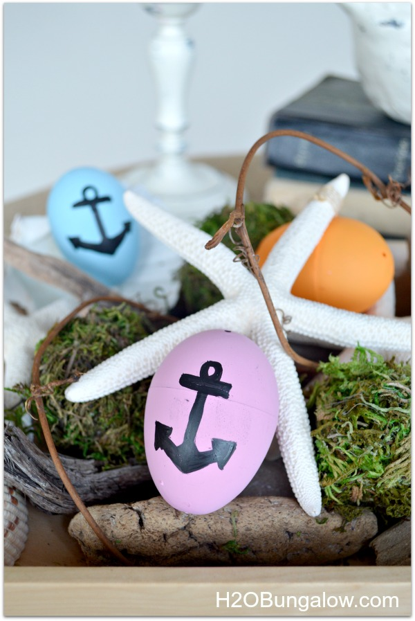 Nautical Easter Egg with driftwood and moss eggs