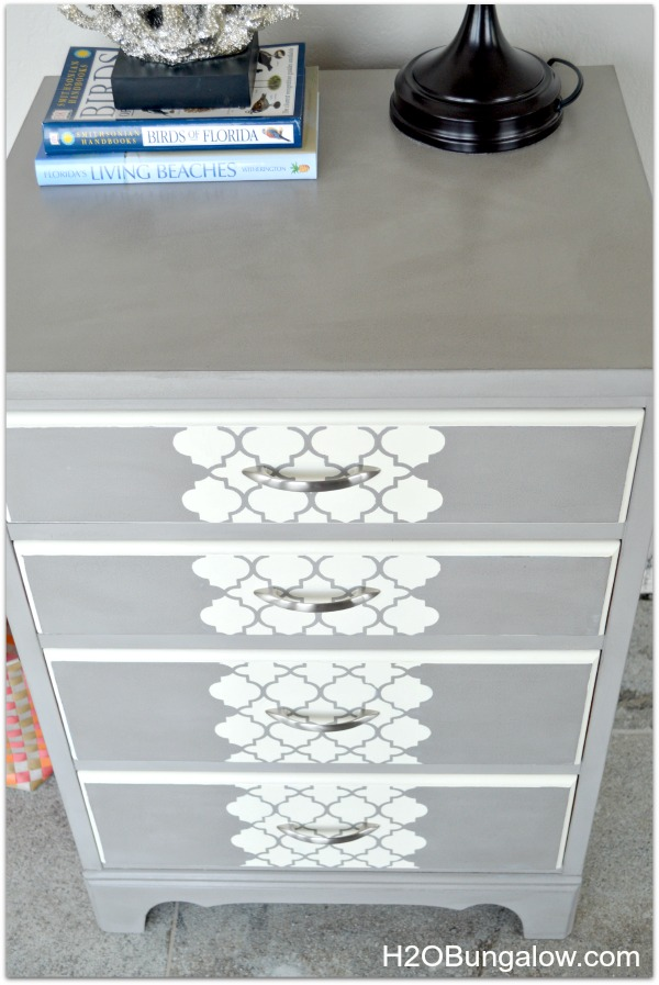 Modern Stenciled Dresser in grey updaed this plain chest into a contemporary side table H2OBungalow