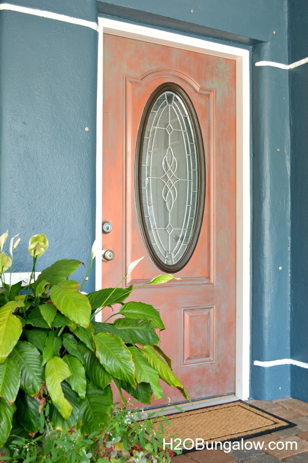 DIY faux painted copper front door tutorial www.H2OBungalow.com #fauxpainted