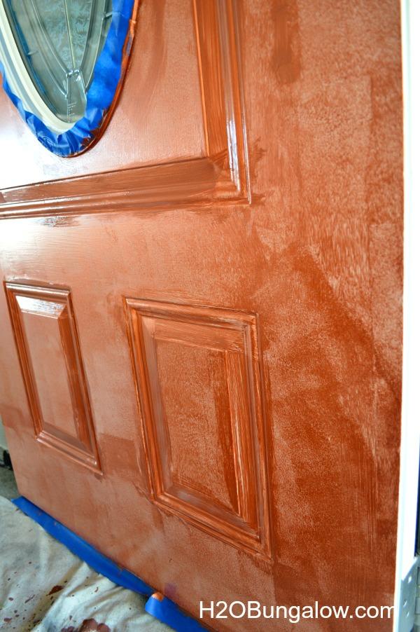 Faux-Paint-Aged-Copper-Patina-Front-Door-H2OBungalow