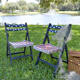 Americana Patriotic Decoupage Vintage Folding Chairs with a tutorial on how to transfom plain old wood chairs-H2OBungalow