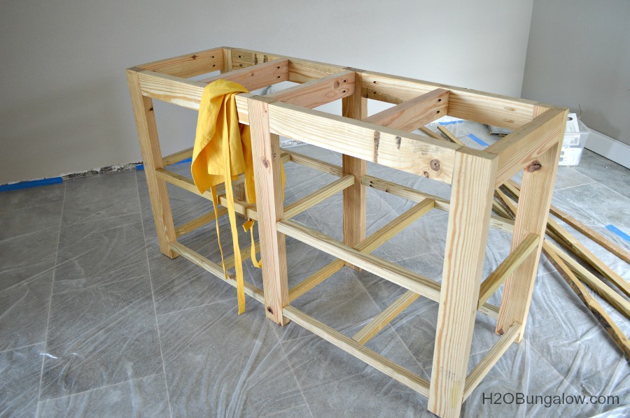 DIY  bathroom vanity frame assembled H2OBungalow. DIY Open Shelf Vanity With Free Plans