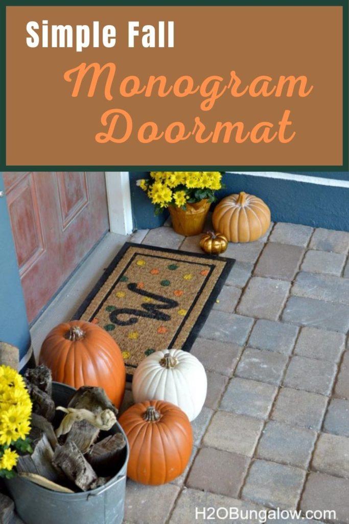Simple Fall Monogram Doormat image to pin to Pinterest