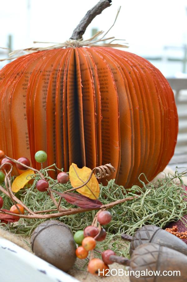 DIY book pumpkin on tray with seasonal decor