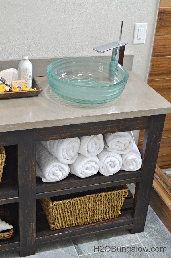 Bathroom Vanity Plans Free diy open shelf vanity with free plans