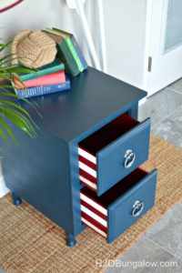Blue nightstand with a red a white drawer surprise H2OBungalow