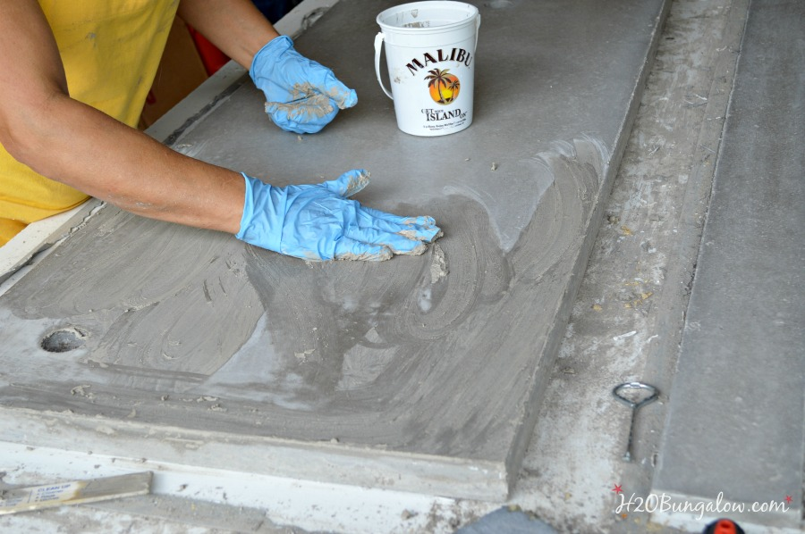 apply slurry to DIY concrete vanity counter top