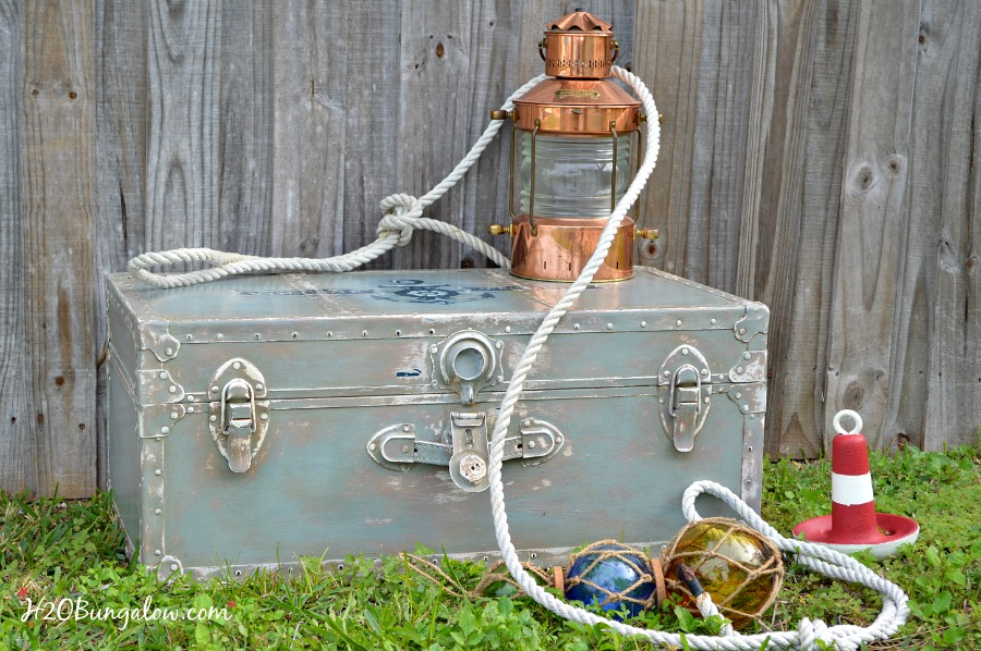 Nautical-inspired-trunk-with anchor-hand-painted-graphic-H2OBungalow