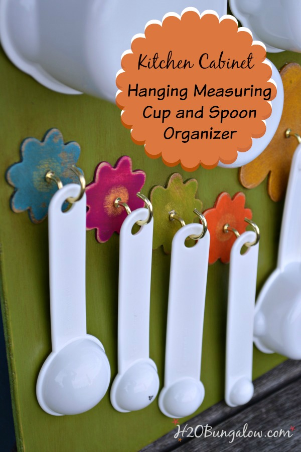 DIY Tutorial to make this measuring cup and spoon that hangs in the kitchen cabinet looks adorbale and keeps everything organized and easy to reach www.H2OBungalow.com
