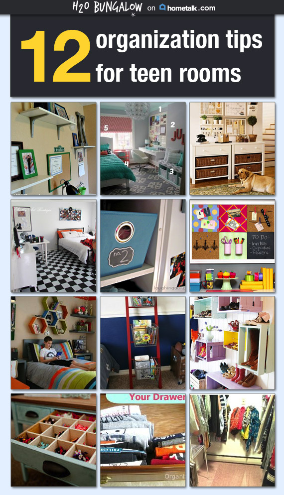 Smart-Tips-For-Organizing-Tweens and Teen-Rooms-is-packed-with-good-ideas-to-reduce-clutter-and-make-a-place-for-everything! www.H2OBungalow