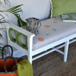 Coastal-beachy-style-bench-makeover-with-hand-stenciled-fabric-by-H2OBungalow