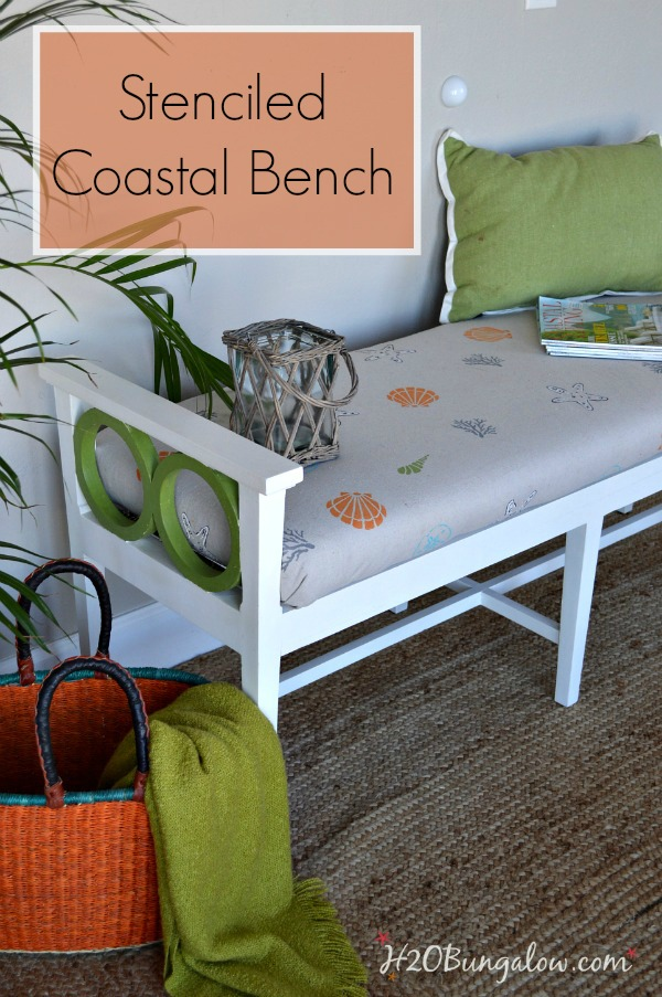 DIY-coastal-beachy-style-bench-makeover-with-hand-stenciled-fabric-by-H2OBungalow