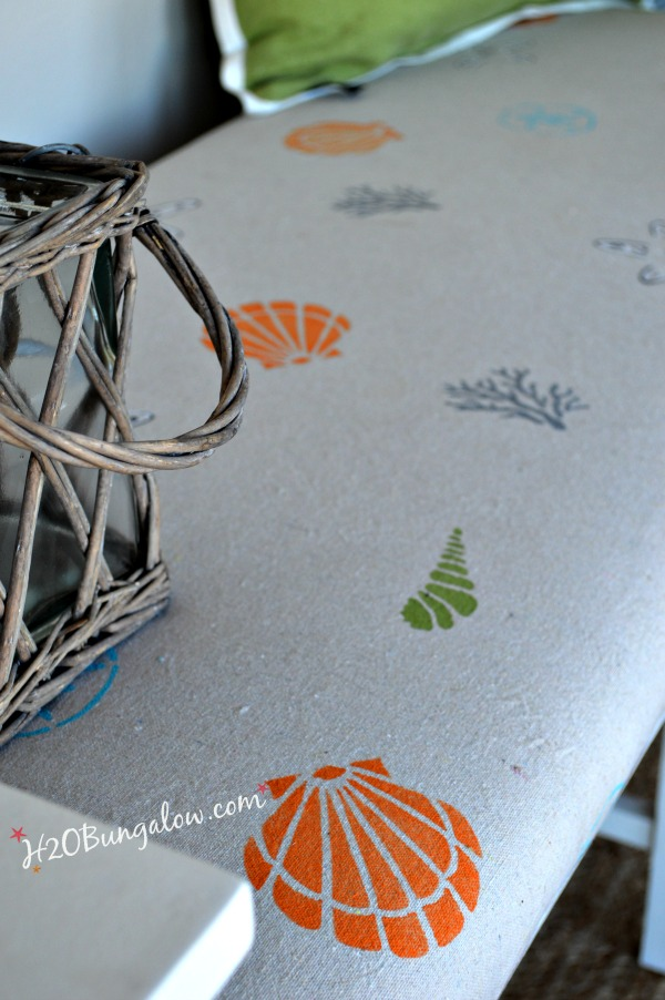 Hand-stenciled-fabric-for-coastal-beachy-bench-makeover-by-H2OBungalow