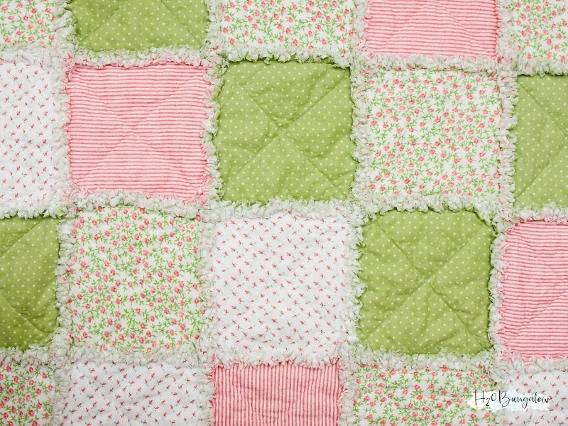 pink, green, and patterned quilted squares